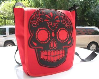 Red Canvas Sugar Skull Day Bag, Messenger Bag, Courier Bag