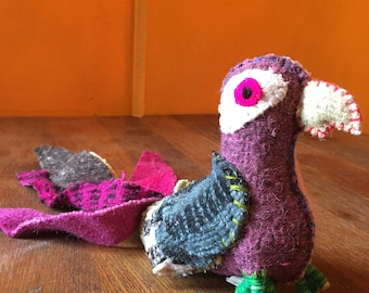 Handmade Natural Woven Wool Mayan Stuffed Animal Bird, Twoolie Parrot