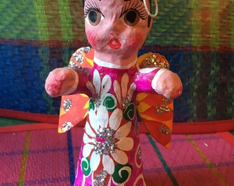 Mexican Hand Painted Paper Mache Angel Tree Ornament