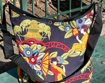 Black Floral Japanese Kimono Girl Market Bag, Cotton Floral Shoulder Bag, Crossbody Tote