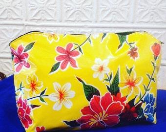 "17"" Yellow Floral Oil Cloth Zippered Pouch, Vinyl Portfolio Case, Oil Cloth Clutch, Travel Bag"