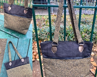 Brown Burlap and Black dot Upholstery Shoulder Tote Bag, Love Shine Handbag