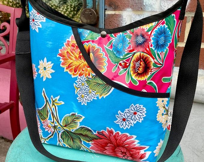 Featured listing image: Love Shine Patchwork Blue Pink Floral Oil Cloth Crossbody Market Bag