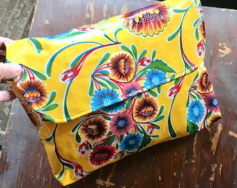 "14"" Oil Cloth Yellow Floral Laptop Sleeve, Envelope Clutch Bag, Portfolio, Travel Case"