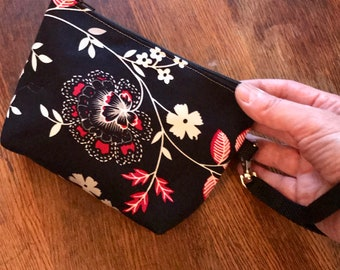 Black Red Floral Cotton Wristlet bag, Cotton Swinger, Wrist clutch bag