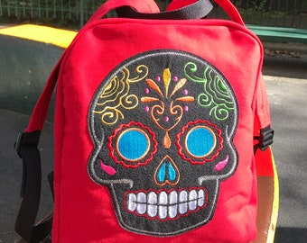Sugar Skull Canvas Backpack, Red Canvas Knapsack with Sugar Skull Applique