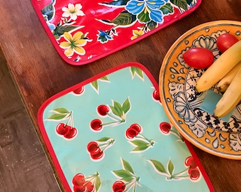 Set of 2 Reversible Aqua Cherry and Red Floral Oil Cloth Placemats, Table Top Mats