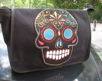 Sugar Skull Black Canvas Courier bag, Black Canvas Shoulder Messenger Bookbag with Multi Color Sugar Skull
