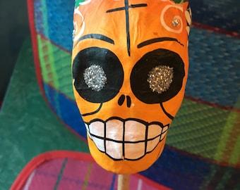 Mexican Paper Mâché Skull Rattle