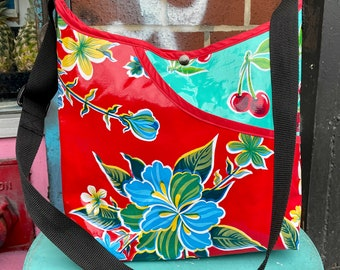 Red Floral and Turquoise Cherry Oil Cloth Crossbody Market Bag, Shoulder Bag