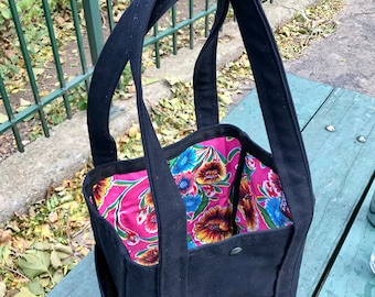 Black Canvas Tote Bag with Pink Floral Oil Cloth Lining, Canvas Market Bag