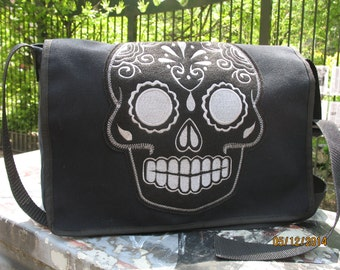 Sugar Skull Black Canvas Courier bag, Black Canvas Shoulder Messenger Bookbag