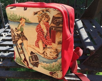 Pin Up Girls Red Canvas Backpack, Campfire Girls Knapsack, Cotton Canvas Love Shine bag