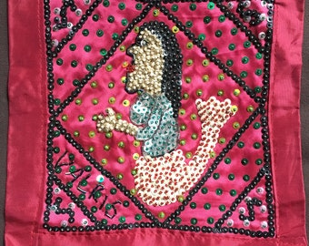 La Sirene Haitian Voodoo Flag, Drapo, Mermaid Sequined Art flag