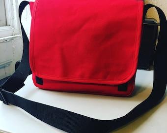 Red Canvas Courier Bag, Messenger Bag, School Laptop Bag