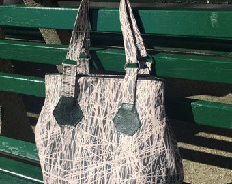 Large Peach Grey Birch Print Zippered Tote Bag, Love Shine Hip Bag, Lightweight Cotton Shoulder Bag