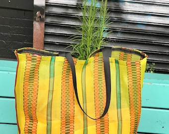 Large Mexican Mesh Yellow Market Bag. Mercado Bag, Shoulder Tote Bag