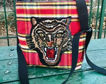 Tiger Patch Plaid Flannel Crossbody Shoulder Bag