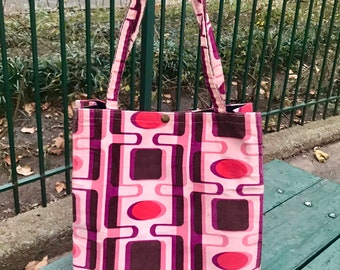 Pink Purple Corduroy Shopping Bag, Market Tote