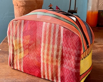 Love Shine Red Plaid Patchwork Mexican Mesh Dopp kit, Travel Case, Cosmetics Toiletry Bag