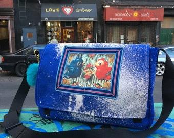 Bleach Dyed and Treated Handmade Blue Canvas Messenger Bag Love Birds, Courier Bag, Crossbody Book Bag