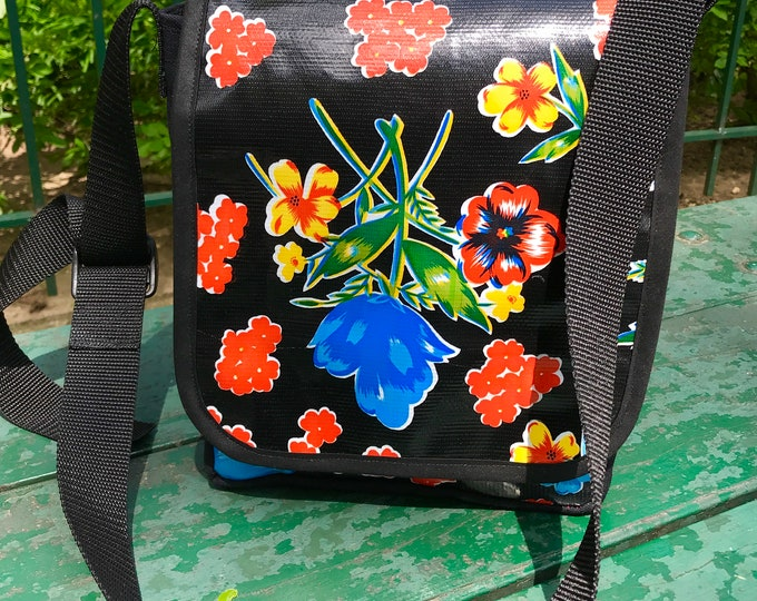 Featured listing image: Black Floral Mexican Oil Cloth and Canvas Messenger Bag, Day bag, Crossbody Courier