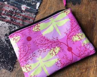"Pink Dragonfly Cotton Print 7 ""Cosmetic Case,  Make Up Pouch, Coin Bag, Travel Case"
