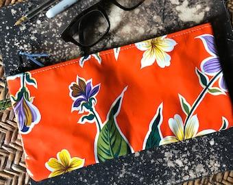 "10"" Orange Floral Oil Cloth Pencil Case, Cosmetic Bag, Make Up Bag, Oil cloth Pouch"