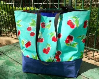 Large Turquoise Cherry Oil Cloth and Canvas Trimmed Beach Bag, Cherry Oil Cloth Tote bag