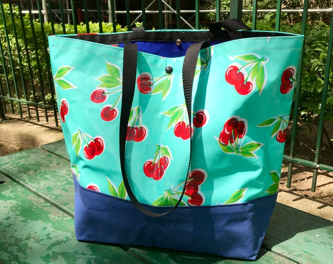Featured listing image: Large Turquoise Cherry Oil Cloth and Canvas Trimmed Beach Bag, Cherry Oil Cloth Tote bag