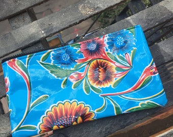 "10"" Blue Floral Oil Cloth Zippered Pencil Case, Cosmetic Case, Oil Cloth Pouch"