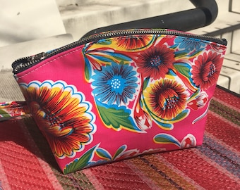 "Hot Pink Mexican Floral Oil Cloth Cosmetic Case, 9"" Oil Cloth Make Up Toiletry Pouch."
