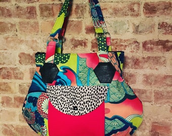 Large Floral Asian Print Zippered Shoulder bag, Handmade Love Shine Hip Bag, Patchwork Tote Bag