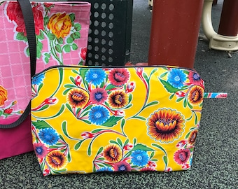 "17"" Yellow Floral Oil Cloth Zippered Pouch, Vinyl Portfolio Bag, Clutch Bag, Travel Case"