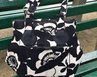 Large Black and White Floral Canvas Zipper Tote, Love Shine Hip Bag, Shoulder Bag, Cotton Print Satchel