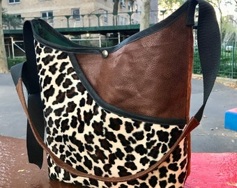 Faux Leopard Vegan Leather and Suede Patchwork Market Bag