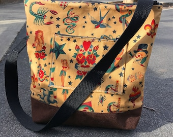 Sailor Jerry Tattoo Cotton Print Zipper Top Market Bag, Crossbody Shoulder Bag