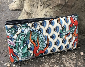 Japanese Dragon Print Cotton Pouch, Pencil Case, Cosmetic Bag