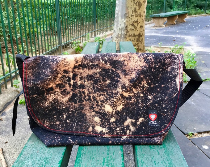 Featured listing image: Love Shine Extra Large Bleach Dyed Black Canvas Messenger Bag, Courier Bag, Cross body Bike Bag