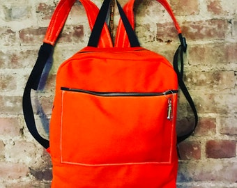 Love Shine Orange Canvas Backpack, Knapsack