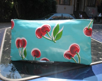 """Turquoise Cherry Oil Cloth Cosmetic Case, Vinyl Cherry 10"""" Pencil Case, Mexican Oil Cloth Pouch"""
