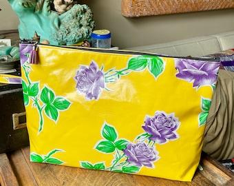 "Women's 14"" Yellow and Purple Rose Oil Cloth Travel Bag,  Laptop/Portfolio Case, Zipper Pouch"
