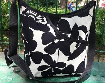 Black and White Floral Print Market Bag, Cross Body Cotton Shoulder Bag, Tote Bag