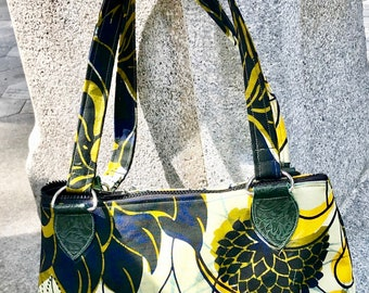 Floral African Print Dahlia Shoulder Bag, African Textile Handbag Purse
