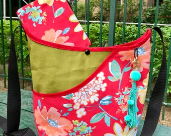 Floral Cotton and Canvas Crossbody Market Bag, Shoulder Bag, Floral Tote with Coin Bag Pouch