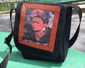 Frida Black Canvas Messenger Bag, Crossbody Daybag, Courier Bag
