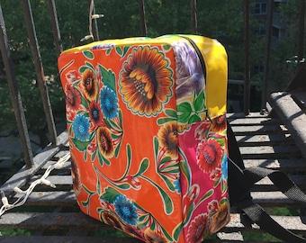 Orange Floral Patchwork Love Shine Oil Cloth Backpack, Lightweight Knapsack