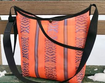 Love Shine Mexican Mesh Orange Crossbody Shoulder Bag, Mercado Bag
