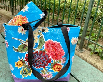 Blue Floral Oil Cloth and Canvas Medium Tote Bag with Cell Phone Wristlet
