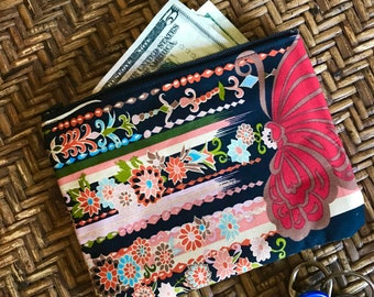 "Black Floral Asian Print Cotton Pouch, 7""  Zipper Coin bag , Cosmetic Case, Make up Bag"